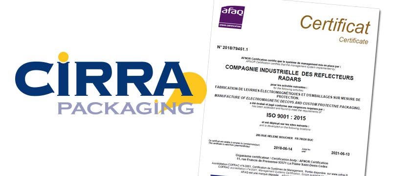 Etienne Lacroix Group - Actualité - CIRRA Now ISO 9001 Certified
